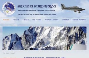 Réalisation site web aeroclub bourg en bresse